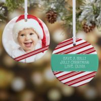Candy Cane 2-Sided Glossy Photo Christmas Ornament Collection