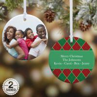 Christmas Argyle 2-Sided Glossy Photo Christmas Ornament