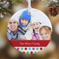 Polka Dot Christmas 1-Sided Glossy Photo Christmas Ornament