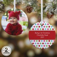 Polka Dot Christmas 2-Sided Glossy Photo Christmas Ornament