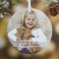 Pet Photo Memories 1-Sided Glossy Christmas Ornament