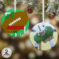 Football 2-Sided Glossy Photo Christmas Ornament