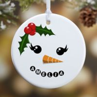 Snowman Character 1-Sided Glossy Christmas Ornament