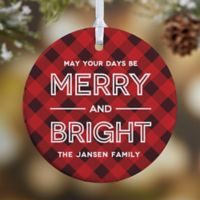 Merry & Bright 1-Sided Glossy Christmas Ornament