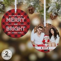 Merry & Bright 2-Sided Glossy Photo Christmas Ornament