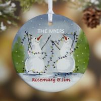 Snow Couple 1-Sided Glossy Christmas Ornament