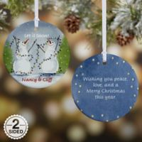 Snow Couple 2-Sided Glossy Christmas Ornament