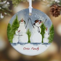 Snow Family 1-Sided Glossy Christmas Ornament