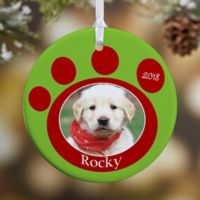 Pawprint On Our Hearts Pet 1-Sided Glossy Photo Christmas Ornament