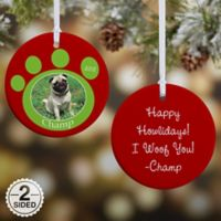 Pawprint On Our Hearts Pet 2-Sided Glossy Photo Christmas Ornament