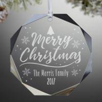 Merry Christmas Premium Octagon Engraved Christmas Ornament