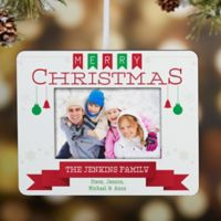 Holiday Banner Mini Picture Frame Christmas Ornament