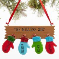 Warm Mitten Family 4-Name Christmas Ornament