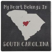Thirstystone® Dolomite My Heart Belongs to South Carolina Single Round Coaster