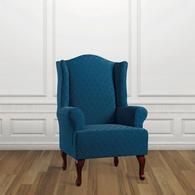 Sure Fit® Marrakesh Wing Chair Slipcover In Nile Blue