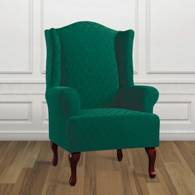 Sure Fit® Marrakesh Wing Chair Slipcover In Emerald