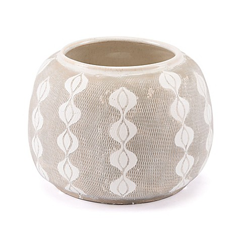 Zuo® Libre Medium Planter in White/Grey