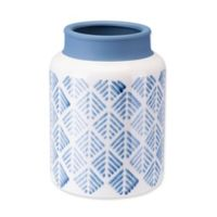 Zuo® Modern Small Zig Zag Vase in Steel Blue/White