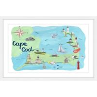 Marmont Hill Cape Cod Map 40-Inch x 60-Inch Framed Wall Art
