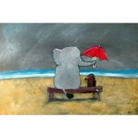 Marmont Hill Elephant Umbrella Canvas Wall Art