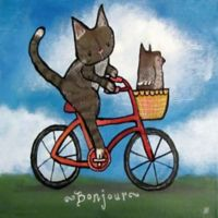 Marmont Hill Bike Riding Cat 32-Inch sq. Canvas Wall Art