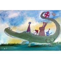 Marmont Hill Alligator Birthday 36-Inch x 24-Inch Framed Wall Art