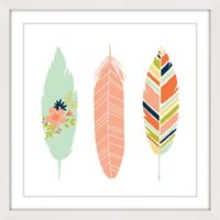 Marmont Hill Feathers I 24-Inch x 24-Inch Multicolor Framed Wall Art