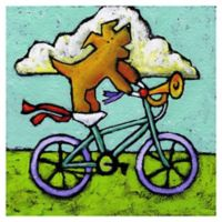 Marmont Hill Acrobat Dog Bike Antics 48-Inch x 48-Inch Canvas Wall Art