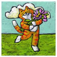 Marmont Hill Tiger Cat Flower Dance 18-Inch Square Canvas Wall Art