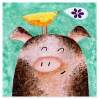 Marmont Hill Pigs Posy Peep 24-Inch Square Canvas Wall Art
