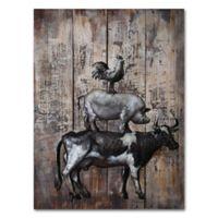 Benjamin Parker Fun in the Barnyard Metal on Wood Wall Art