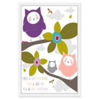 Marmont Hill Owls 12-Inch x 18-Inch Framed Wall Art in Purple
