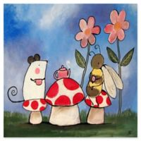 Marmont Hill Mushroom Tea Party 24-Inch Square Canvas Wall Art