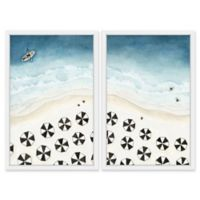 Marmont Hill Black Umbrellas Diptych 80-Inch x 60-Inch Framed Print Wall Art (Set of 2)