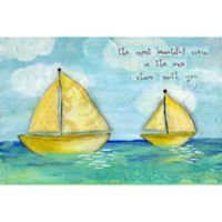 Marmont Hill Yellow Sailboats 30-Inch x 20-Inch Canvas Wall Art