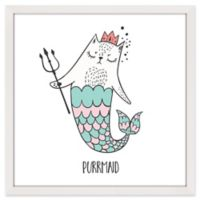 "Marmont Hill ""Purrmaid"" 03 12-Inch x 18-Inch Square Framed Wall Art"