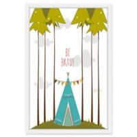 Marmont Hill Blue Teepee 24-Inch x 36-Inch Framed Wall Art