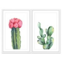 Marmont Hill Pink and Green Succulent Diptych Framed Wall Art (Set of 2)