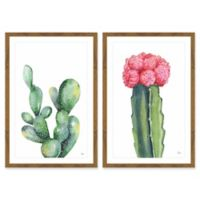 Marmont Hill Pink and Green Succulent Diptych 24-Inch x 18-Inch Framed Wall Art (Set of 2)