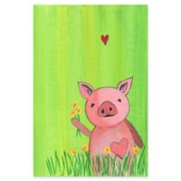 Marmont Hill Pig in Grass 12-Inch x 18-Inch Canvas Wall Art