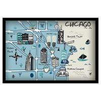 Marmont Hill Chicago Attractions II 18-Inch x 12-Inch Canvas Multicolor Shadowbox Framed Wall Art