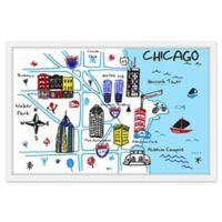 Marmont Hill Chicago Attractions 24-Inch x 16-Inch Multicolor Framed Wall Art