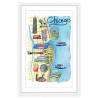 Marmont Hill Famous Chicago 16-Inch x 24-Inch Multicolor Framed Wall Art