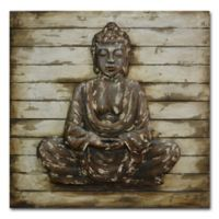 Metal Buddha on Washed Wooden Panels Wall Art