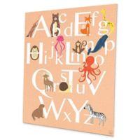 Astra Art Alphabet Animals 16-Inch x 20-Inch Metal Wall Art in Peach
