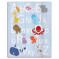 Astra Art Alphabet Animals 11-Inch x 14-Inch Wood Wall Art in Purple