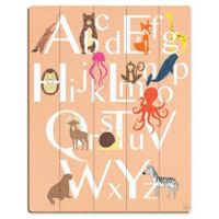 Astra Art Alphabet Animals 11-Inch x 14-Inch Wood Wall Art in Peach