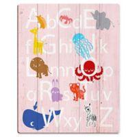 Astra Art Alphabet Animals 16-Inch x 20-Inch Wood Wall Art in Rose