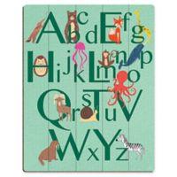 Astra Art Alphabet Animals 20-Inch x 24-Inch Wood Wall Art in Green