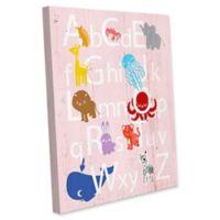 Astra Art Alphabet Animals 20-Inch x 24-Inch Canvas Wall Art in Rose